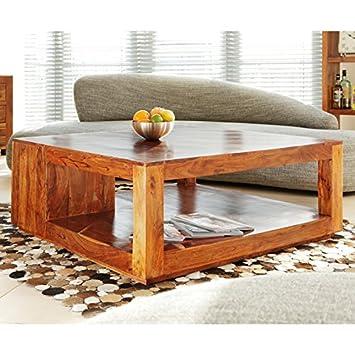 """Muebles de madera maciza mesa de centro WOLF """"Cube"""" 110 x 110 cm de madera de acacia gurú"""