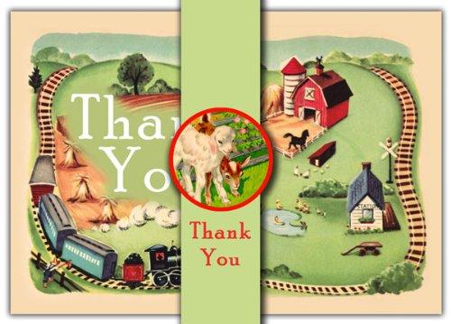 Dolce Mia Choo-Choo Farm Thank You Card - Pack of 10 - 1