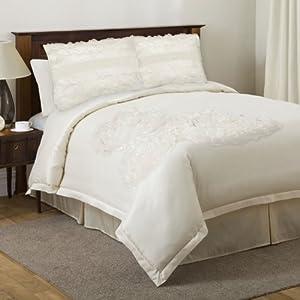 Triangle Home Fashions Triangle Home Fashions 18399 Lush Decor 4-Piece Sposa Comforter Set, King-Size, Ivory