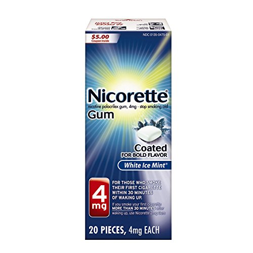 Nicorette Nicotine Gum White Ice Mint 4 milligram Stop Smoking Aid 20 count