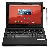 IVSO オリジナルSony Xperia Z4 Tablet docomo SO-05G au SOT31専用PUレザーケース マグネット着脱可能 一体型Bluetoothワイヤレスキーボード (ブラック)