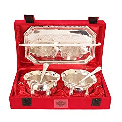IndianArtVilla Handmade High Quality Silver Plated Set, Designer Bowl, 2 Spoon & Tray