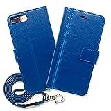 Hy+ iPhone7 Plus (アイフォン7プラス) 本革レザー ケース 手帳型 (ネックストラップ、カードポケット、スタンド機能付き) ブルー