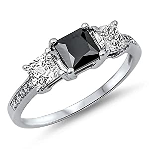 925 Sterling Silver Simulated Princess Cut Black Onyx & Cz Ring Sizes 11