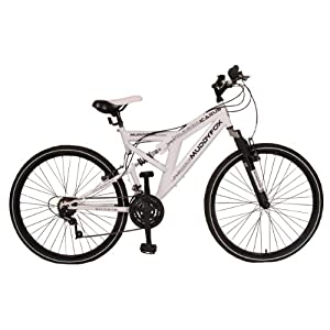 Mens 18 Inch Dual Suspension MuddyFox Mountain Bike in White. MANUFACTURERS WARRANTY.