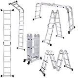 [UK Stock] Cravog 3.7M Multi Purpose Aluminum Folding Telescopic Fold Ladder Extendable   2 Panels