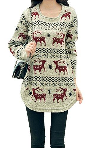 Shineflow-Womens-Reindeer-Snowflake-Midi-Christmas-Pullover-Sweater-Jumper