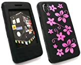 EMARTBUY LG KP500 COOKIE LCD SCREEN PROTECTOR AND SILICON CASE/COVER/SKIN FLORAL BLACK