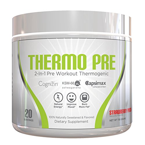 THERMO PRE - All-Natural 2-In-1 Pre Workout Thermogenic Fat Burner, Non-Habit Forming Sustained Energy Weight Loss Formula with KSM-66 Ashwagandha, Capsimax and Cognizin, Strawberry Punch, 20 Serving (Gym Angel Energy Angel compare prices)