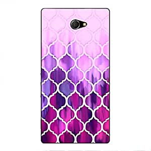 EYP Pink Magenta Moroccan Tiles Pattern Back Cover Case for Sony Xperia M2 Dual