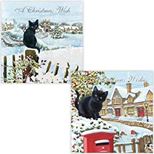 Boxed Black Cat Christmas Cards