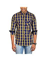 Sleek Line Men's Banded Collar Cotton Shirt - B00TRU4BQS