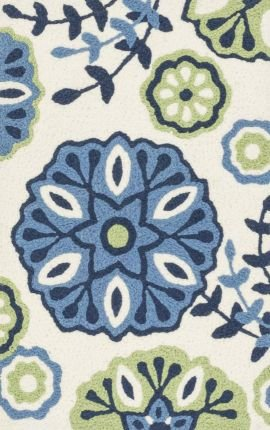 Loloi Rugs ANGEHAN18BBGR193H Angelou Collection Hearth Transitional Area Rug, 1-Feet 9-Inch by 2-Feet 9-Inch, Blue/Green