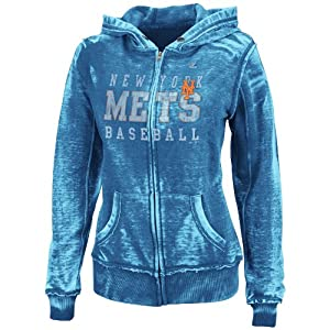 MLB New York Mets Washed Deep Royal Heather Long Sleeve Full Zip Hood Bunout Ladies... by Majestic
