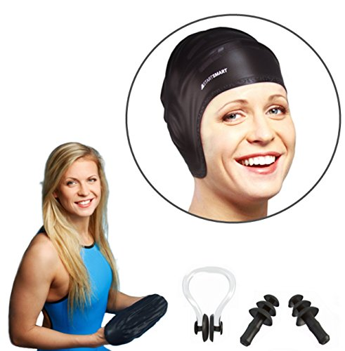 Start Smart Silicone Swim Cap For Long Hair PLUS Nose Clip and Ear Plug Set (Swim Long Hair Nose Clip compare prices)