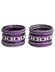 Two Sets Of Stone Studded Purple With Silver Glitter Metal Bangles - Metal