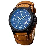 PAGANI DESIGN Business Men's Multi-function Brown Leather Band Waterproof Quartz Sports Wrist Watch