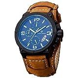 PAGANI DESIGN Business Men's Multi-function Brown Leather Band Waterproof Quartz Sports Wrist Watch