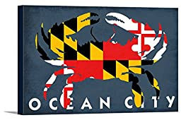 Ocean City, Maryland - Maryland Flag Crab (36x24 Gallery Wrapped Stretched Canvas)
