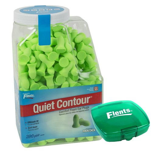 Quiet Contour Comfort Foam Ear Plugs (200 Pair) Nrr33 - With Green Case