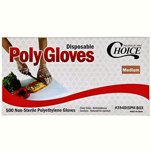 Poly Disposable Gloves Box of 500, Medium Size (Concession Stand Boxes compare prices)