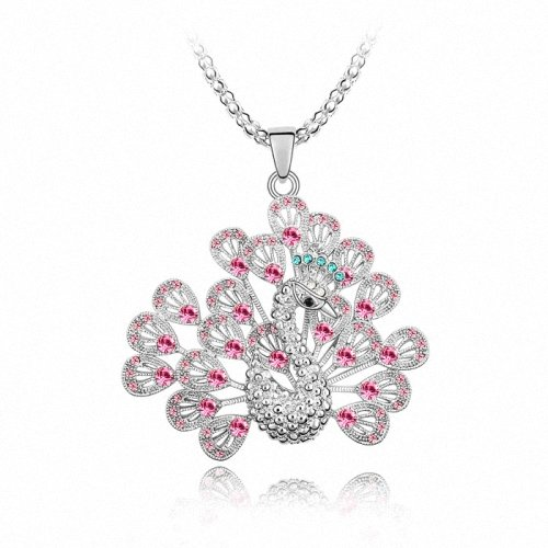TAOTAOHAS- [ Search Name: Princess Peacock ] (1PC) Crystallized Swarovski Elements Austria Crystal Long Chain Pendant Sweater Necklace, Made of Alloy Plated with 18K True Platinum / White Gold and Czech Rhinestone