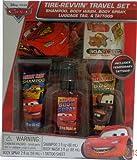 Disney Pixar Cars Tire-Revvin' Travel Set - Shampoo, Body Wash, Body Spray, Luggage Tag, & Tattoos