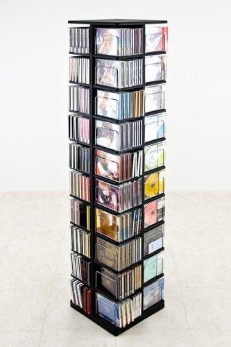 大容量回転式マルチタワーラックCD・DVD収納 ブラック(BK)
