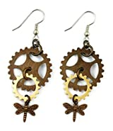 Surgical Steel and Brass Dangle Earrings Steampunk Gears with Dragonfly