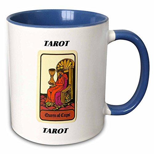 3dRose Florene Tarot Cards - Queen Of Cups - 11oz Two-Tone Blue Mug (mug_34737_6)