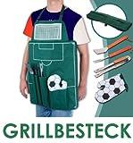 'FUSSBALL' Grillschürze mit Grillbesteck & Handschuh - Grill Schürze mit Besteck - BBQ Grillzubehör