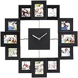 VonHaus Black Photo Frame Clock - Holds 12 Photos