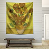 """Wall26 - """"Sunflower"""" by Vincent van Gogh - Fabric Tapestry, Home Decor - 51x60 inches"""