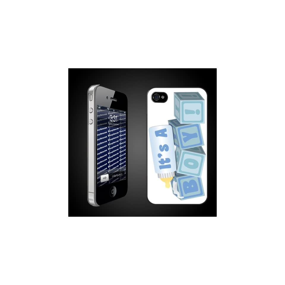 New Baby iPhone Design Its a Boy Baby Blocks   iPhone Hard Case   CLEAR Protective iPhone 4/iPhone 4S Case