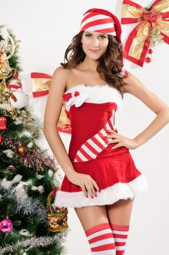 Bingirl Candy Cane Christmas Santa Dresses for Women Tube Dress with Satin Bows