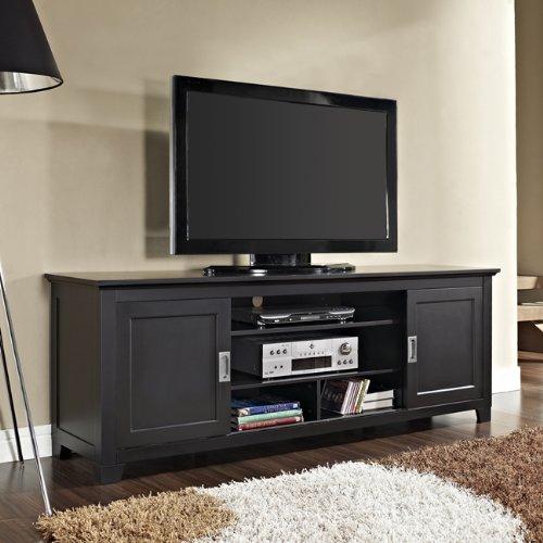 70 in Wood TV Console w Sliding Doors - Black