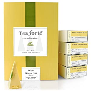 Tea Forte Event Box - 48 Silken Pyramid Infusers - White Ginger Pear