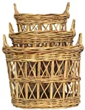 "Natural Rattan Oval Baskets Set / 3 Large = 22"" X 17"" x 17""H"