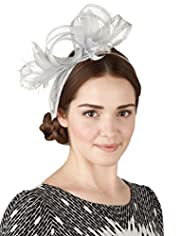 Faux Feather & Mesh Large Bow Headband