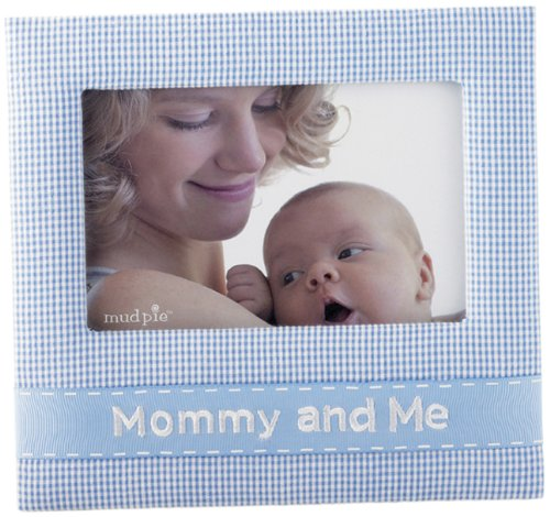 Mud Pie Baby Lil' Buddy Blue Gingham Fabric Photo Frame, Mommy and Me