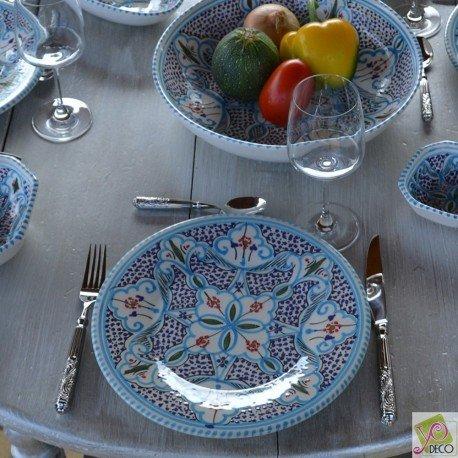 6 assiettes plates Marocain turquoise - D 28 cm