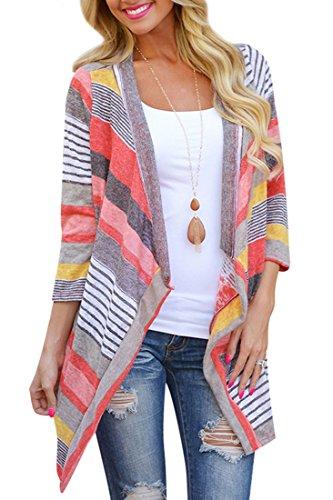 ACHICIGIRL Chic Color Block Striped Cardigan, Red L