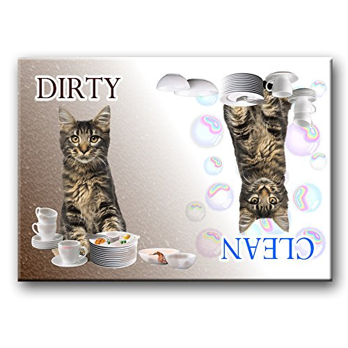 Maine Coon Cat Clean / Dirty Dishwasher Magnet No 3 (Dishwasher Magnet Cat compare prices)