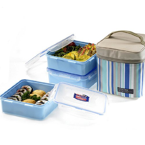 Lock & Lock Square Lunch Box 3-Piece Set With Insulated Stripe Bag, Blue