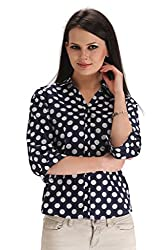 ZAIRE Women's Fashionable Polka Dotted 3/4 Sleeves Cotton Top (2283-3/4TH, Navy Blue,M)