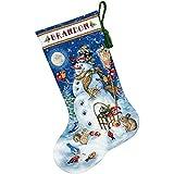 """ディメンジョンズ クロスステッチ 刺繍キット""""クリスマスの靴下・ゆきだるまと友だち""""            Dimensions Crafts Counted Cross Stitch Stocking, Snowman & Friends               DIM クロスステッチキットSnowman & Friends 【並行輸入品】"""