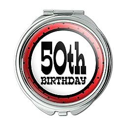 50th Fiftieth Birthday Red Black Polka Dots Compact Purse Mirror