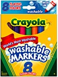 Crayola Broad Point Washable Markers, 8 Markers, Classic Colors (58-7808)