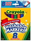 Crayola Washable Markers, Broad Point, Classic Colors, 8/Pack (58-7808)