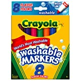 Crayola Broad Point Washable Markers, 8 Markers, Classic Colors (58-7808) ~ Crayola